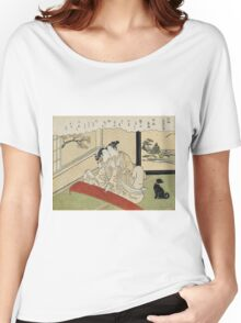 Suzuki Harunobu - Geese Descending On The Koto Bridges . Woman portrait:  geisha ,  women,  courtesan,  fashion,  costume,  kimono,  hairstyle,  headdress,  parasol,  mirror,  maid Women's Relaxed Fit T-Shirt