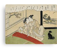 Suzuki Harunobu - Geese Descending On The Koto Bridges . Woman portrait:  geisha ,  women,  courtesan,  fashion,  costume,  kimono,  hairstyle,  headdress,  parasol,  mirror,  maid Canvas Print