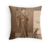 Looking Mirror By Kimbei Resellable Throw Pillow