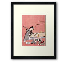 Suzuki Harunobu - Weaving. Woman portrait:  geisha ,  women,  courtesan,  fashion,  costume,  kimono,  hairstyle,  headdress,  parasol,  mirror,  maid Framed Print