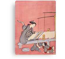 Suzuki Harunobu - Weaving. Woman portrait:  geisha ,  women,  courtesan,  fashion,  costume,  kimono,  hairstyle,  headdress,  parasol,  mirror,  maid Canvas Print