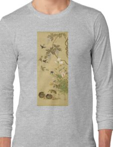 Suzuki Kiitsu - Birds And Flowers. Forest view: forest , trees,  fauna, nature, birds, animals, flora, flowers, plants, field, weekend Long Sleeve T-Shirt