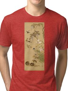 Suzuki Kiitsu - Birds And Flowers. Forest view: forest , trees,  fauna, nature, birds, animals, flora, flowers, plants, field, weekend Tri-blend T-Shirt
