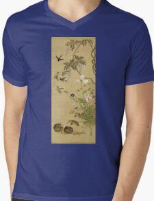 Suzuki Kiitsu - Birds And Flowers. Forest view: forest , trees,  fauna, nature, birds, animals, flora, flowers, plants, field, weekend Mens V-Neck T-Shirt