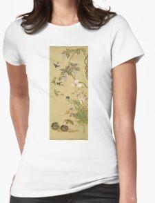 Suzuki Kiitsu - Birds And Flowers. Forest view: forest , trees,  fauna, nature, birds, animals, flora, flowers, plants, field, weekend Womens Fitted T-Shirt