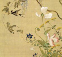 Suzuki Kiitsu - Birds And Flowers. Forest view: forest , trees,  fauna, nature, birds, animals, flora, flowers, plants, field, weekend Sticker