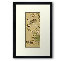 Suzuki Kiitsu - Birds And Flowers. Forest view: forest , trees,  fauna, nature, birds, animals, flora, flowers, plants, field, weekend Framed Print