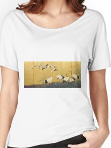 Suzuki Kiitsu - Reeds And Cranes. Forest view: forest , trees,  fauna, nature, birds, animals, flora, flowers, plants, field, weekend Women's Relaxed Fit T-Shirt