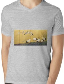 Suzuki Kiitsu - Reeds And Cranes. Forest view: forest , trees,  fauna, nature, birds, animals, flora, flowers, plants, field, weekend Mens V-Neck T-Shirt