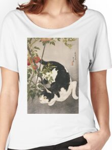Takahashi Hiroaki - Cat Prowling Around A Staked Tomato Plant. Cat portrait: cute cat, kitten, kitty, cats, pets, wild life, animal, smile, little, kids, baby Women's Relaxed Fit T-Shirt