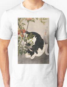 Takahashi Hiroaki - Cat Prowling Around A Staked Tomato Plant. Cat portrait: cute cat, kitten, kitty, cats, pets, wild life, animal, smile, little, kids, baby Unisex T-Shirt