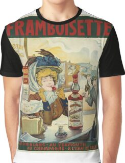 Tamagno - Framboisette Poster. Cafe view: drinking and eating party, woman and man, people, family, female and male, peasants, cafe, romance, women and men, restaurant, food Graphic T-Shirt