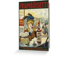Tamagno - Framboisette Poster. Cafe view: drinking and eating party, woman and man, people, family, female and male, peasants, cafe, romance, women and men, restaurant, food Greeting Card