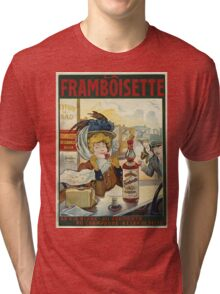 Tamagno - Framboisette Poster. Cafe view: drinking and eating party, woman and man, people, family, female and male, peasants, cafe, romance, women and men, restaurant, food Tri-blend T-Shirt