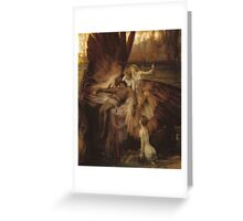 Herbert Draper - The Lament For Icarus 1898. Fairy painting: icarus, mermaids, nude, nudity , temptation , dawn, star, angels, angelic , torso, love  Greeting Card