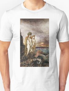 Gustave Moreau - The Sirens Gustave Moreau. Fairy painting: mermaids, nude, nudity , temptation , dawn, star, angels, angelic , breast, love , erotic pose Unisex T-Shirt