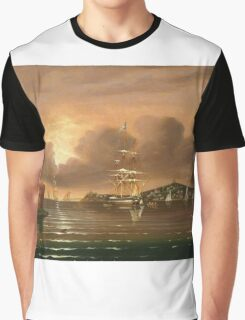 Thomas Chambers - Threatening Sky, Bay Of New York. Sea landscape: sea view,  yachts,  holiday, sailing boat, coast seaside, waves and beach, marin, seascape, sun clouds, nautical, ocean Graphic T-Shirt