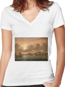 Thomas Chambers - Threatening Sky, Bay Of New York. Sea landscape: sea view,  yachts,  holiday, sailing boat, coast seaside, waves and beach, marin, seascape, sun clouds, nautical, ocean Women's Fitted V-Neck T-Shirt