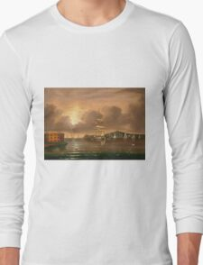 Thomas Chambers - Threatening Sky, Bay Of New York. Sea landscape: sea view,  yachts,  holiday, sailing boat, coast seaside, waves and beach, marin, seascape, sun clouds, nautical, ocean Long Sleeve T-Shirt