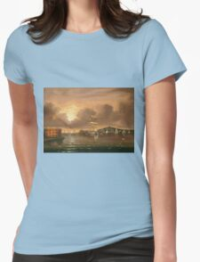 Thomas Chambers - Threatening Sky, Bay Of New York. Sea landscape: sea view,  yachts,  holiday, sailing boat, coast seaside, waves and beach, marin, seascape, sun clouds, nautical, ocean Womens Fitted T-Shirt