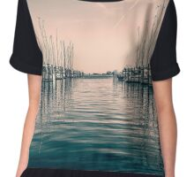 sailing ships in the harbor Chiffon Top