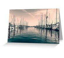 sailing ships in the harbor Greeting Card