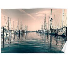 sailing ships in the harbor Poster