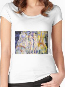 Robert Delaunay - La Ville De Paris. Abstract painting: abstraction, geometric, Nude Woman, composition, lines, forms, creative fusion, music, kaleidoscope, illusion, fantasy future Women's Fitted Scoop T-Shirt