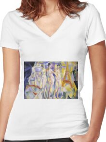 Robert Delaunay - La Ville De Paris. Abstract painting: abstraction, geometric, Nude Woman, composition, lines, forms, creative fusion, music, kaleidoscope, illusion, fantasy future Women's Fitted V-Neck T-Shirt