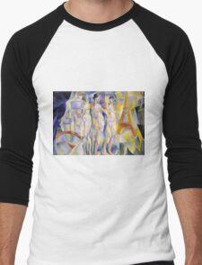 Robert Delaunay - La Ville De Paris. Abstract painting: abstraction, geometric, Nude Woman, composition, lines, forms, creative fusion, music, kaleidoscope, illusion, fantasy future Men's Baseball ¾ T-Shirt