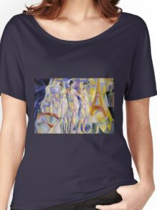 Robert Delaunay - La Ville De Paris. Abstract painting: abstraction, geometric, Nude Woman, composition, lines, forms, creative fusion, music, kaleidoscope, illusion, fantasy future Women's Relaxed Fit T-Shirt