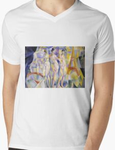 Robert Delaunay - La Ville De Paris. Abstract painting: abstraction, geometric, Nude Woman, composition, lines, forms, creative fusion, music, kaleidoscope, illusion, fantasy future Mens V-Neck T-Shirt