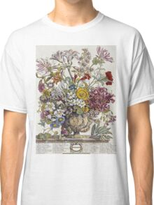 Robert Furber - Twelve Months Of Flowers. Still life with flowers: flowers, bumblebee , carnations, peonies, roses, tulips,  marigolds,  life, garden, blossom, vase Classic T-Shirt