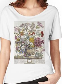 Robert Furber - Twelve Months Of Flowers. Still life with flowers: flowers, bumblebee , carnations, peonies, roses, tulips,  marigolds,  life, garden, blossom, vase Women's Relaxed Fit T-Shirt