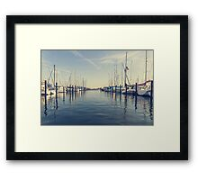 sailing ships in the harbor Framed Print