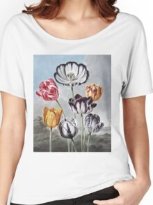 Robert John Thornton - Tulips. Still life with flowers:  bouquet, flowers, bumblebee , carnations, peonies, roses, tulips,  marigolds,  life, garden, blossom Women's Relaxed Fit T-Shirt