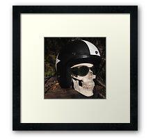 Retro Skull biker Helmet Glasses Framed Print