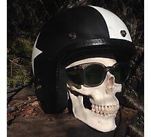 Retro Skull biker Helmet Glasses Photographic Print