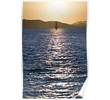 Sailboat bathed in dawn sunlight Poster
