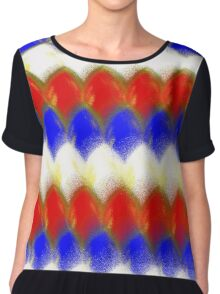 Red White & Blue Spotty Dragon Scales Chiffon Top