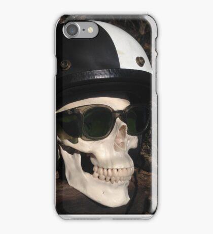 Retro Skull biker Helmet Glasses iPhone Case/Skin