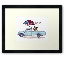 Patriotic Puppy Thank You Card or Print Framed Print