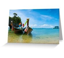 Long tail boat by the beach  Greeting Card