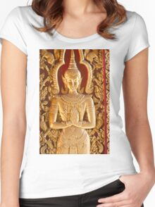 Thai style Buddha carving Women's Fitted Scoop T-Shirt