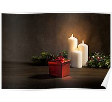 Candles and a present  with burning candles  Poster
