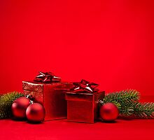 Red bauble and present  by 3523studio