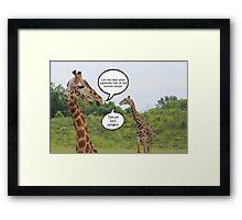 Giraffes Having a Chat Framed Print