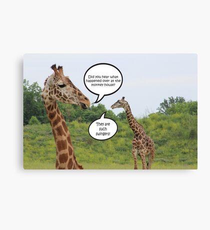 Giraffes Having a Chat Canvas Print