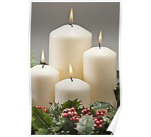 Advent wreath with burning candles  Poster