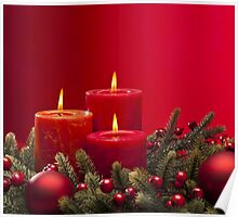 Red advent flower arangement with burning candles Poster
